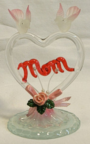"GLASS HEART W/ MOM ACROSS HEART W/DOVES & FLOWERS  2 5/8"" X 2 1/2"" X 3 7/8"" HAND CRAFTED & HAND PAINTED"