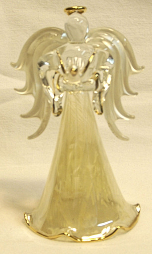 "ANGEL WITH DOVES & 22K GOLD TRIM 2 3/4"" X 2 3/8"" X 4 1/2""  HAND CRAFTED & HAND PAINTED"