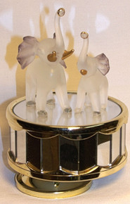 """MOTHER & BABY ELEPHANT CAROUSEL PLAYS MEMORY - HAND CRAFTED (1) ONLY ONE LEFT  MEASURES 3 5/8"""" X 3 5/8"""" X 4 1/8"""""""