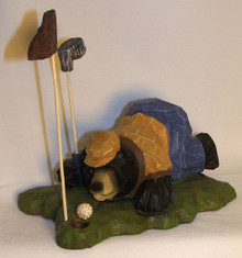 "BEAR GOLFER ""ENCOURAGING THE BALL TO DROP""  MEASURES 6 1/2"" X 4 1/2"" X 5 3/4""  RESIN WOOD CARVED LOOK"