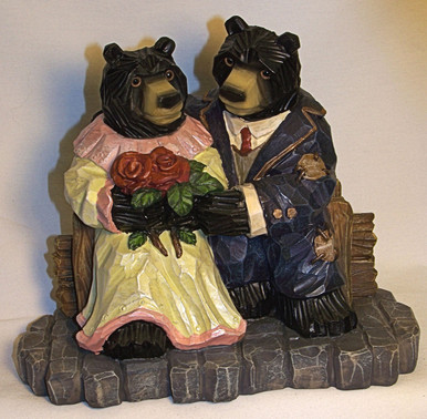"BEAR COUPLE MEASURES 8"" X 4 1/2"" X 7""   RESIN WOOD CARVED LOOK"