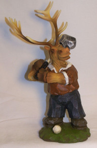 "ELK GOLFER FIGURINE MEASURES 6"" X 5 1/2"" X 9 3/8""  RESIN, WOOD CARVED LOOK"