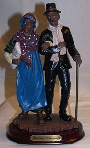 "AFRICAN AMERICAN COUPLE CIRCA 1880  MEASURES 5 1/2"" X 4 1/8"" X 9 1/8"" RESIN"