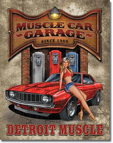 """MUSCLE CAR GARAGE TIN SIGN MEASURES 12 1/2"""" W X 16"""" H  WITH HOLES IN EACH CORNER FOR EASY MOUNTING"""