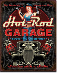 """HOT ROD GARAGE PISTONS VINTAGE TIN SIGN  MEASURES 12 1/2"""" X 16""""  WITH HOLES IN EACH CORNER FOR EASY MOUNTING"""
