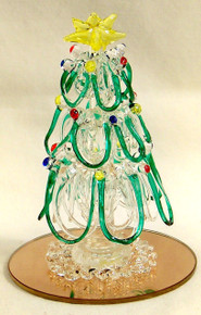 "GLASS HAND MADE ORNIMENTAL CHRISTMAS TREE ON MIRROR  ONLY TWO LEFT 2 1/2"" X 2 1/2"" X 3 1/2"""