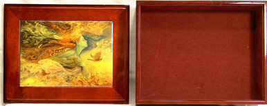 """SPIRIT OF FLIGHT JEWELRY BOX WITH LID THAT CAN BE DISPLAYED ON WALL ART DESIGNS BY JOSEPHINE WALL A POPULAR ENGLISH FANTASY ARTIST. THIS JEWELRY BOX CAN BE USED IN SEVERAL DIFFERENT WAYS. THE LID CAN BE USED PICTURE UP OR WORDS UP OR CAN BE HUNG ON THE WALL, USING THE EYELETS PROVIDED THE CASE ITSELF IS FELT LINED AND WITH LID  MEASURES 8 5/8"""" X 6 13/16"""" X 3 1/2"""""""