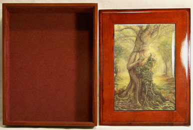 """THE DRYAD & TREE SPIRIT JEWELRY BOX WITH LID THAT CAN BE DISPLAYED ON WALL  ART DESIGNS BY JOSEPHINE WALL  A POPULAR ENGLISH FANTASY ARTIST. THIS JEWELRY BOX CAN BE USED IN SEVERAL DIFFERENT WAYS. THE LID CAN BE USED PICTURE UP OR WORDS UP OR CAN BE HUNG ON THE WALL, USING THE EYELETS PROVIDED THE CASE ITSELF IS FELT LINED  AND WITH LID  MEASURES 8 5/8"""" X 6 13/16"""" X 3 1/2"""""""