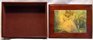 """ALTERNATIVE REALITY  JEWELRY BOX WITH LID THAT CAN BE DISPLAYED ON WALL  ART DESIGNS BY JOSEPHINE WALL  A POPULAR ENGLISH FANTASY ARTIST. THIS JEWELRY BOX CAN BE USED IN SEVERAL DIFFERENT WAYS. THE LID CAN BE USED PICTURE UP OR WORDS UP OR CAN BE HUNG ON THE WALL,  USING THE EYELETS PROVIDED THE CASE ITSELF IS FELT LINED  AND WITH LID  MEASURES 8 5/8"""" X 6 13/16"""" X 3 1/2"""""""