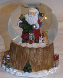 """SMALL SNOW GLOBE SANTA WITH SMALL TREE, PRESENTS & SQUIRREL MEASURES 3"""" X 3"""" X 3 1/2"""""""