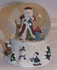 """SMALL SNOW GLOBE SANTA READING LETTER BY MAIL BOX MEASURES 2 7/8"""" X 2 7/8"""" X 3 1/2"""""""