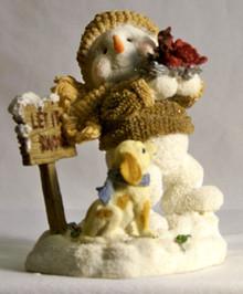 "LET IT SNOW SNOWPERSON WITH CARDINALS & PUPPY  MEASURES 3 1/8"" X 2 3/4"" X 4 1/8"""