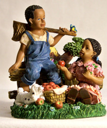 "AFRICAN AMERICAN CHILDREN W/ PUPPY & BASKET OF APPLES MEASURES 3 3/8"" X 3 1/2"" X 4"""