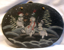 "OVAL SLATE WITH LEATHER STRIP FOR HANGING SNOWBALL FIGHT MEASURES 12 5/8"" X 1/4"" X 9 1/2"" AND WEIGHS ABOUT 24 OZ PLEASE BE CAREFUL, THIS IS NATURAL SLATE, IT HAS SOME WEIGHT AND THE EDGES MAY BE VERY SHARP."