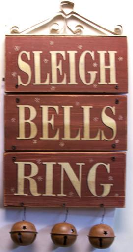 """SLEIGH BELLS RING WOOD AND METAL DECORATION (BELLS MEASURE 2 5/8"""" DIA.) OVERALL MEASUREMENTS 10 1/2"""" X 2 5/8"""" X 20 1/2"""""""