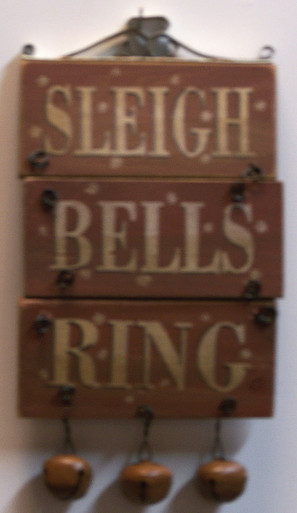 """SMALL SLEIGH BELLS RING WOOD AND METAL DECORATION MEASURES  3 5/8"""" X 3/8"""" X 7 1/4"""""""