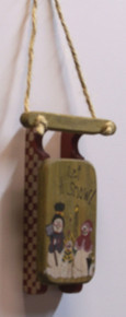 "SMALL WOODEN SLED DECORATION ""LET IT SNOW""   MEASURES 3 1/2"" X 7/8"" X 8 3/8"""