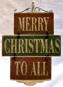 """MERRY CHRISTMAS TO ALL SMALL WOOD, WIRE & METAL VINTAGE SIGN MEASURES 4 7/8"""" X 3/8"""" X 7"""""""