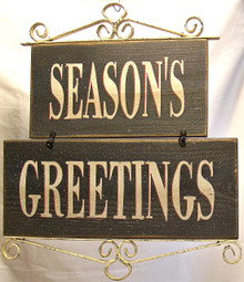 "SEASON'S GREETINGS WOOD & METAL RUSTIC HOLIDAY DÉCOR MEASURES  12 3/8"" X 1/2"" X 14 3/8"""