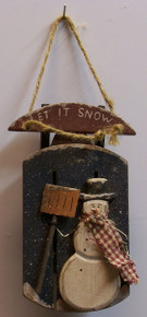"SMALL WOODEN SLED WITH SNOWMAN WOOD DECORATION MEASURES  3 1/4"" X 1 3/8"" X 2 1/2"""