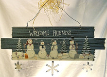 "WELCOME FRIENDS WOODEN SIGN WITH ROUGH ENDS WOOD, METAL & WIRE MEASURES 18"" X 3/8"" X 7"""