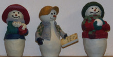 "THREE SMALL SNOWMEN FIGURINES (SET OF THREE) EACH APOX 2"" X 2"" X 2 7/8"""