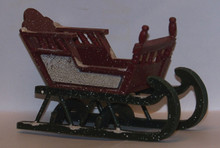 "SMALL ORNATE WOODEN BABY SLEIGH   MEASURES 5 3/8"" X 2 7/8"" X 3 3/8"""