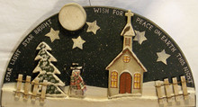"HALF MOON SHAPED WOOD SIGN ""STAR LIGHT STAR BRIGHT WISH FOR PEACE ON EARTH TONIGHT  MEASURES 10 5/8"" X 5/8"" X 5 1/4"""