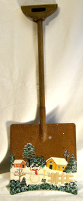 "SNOWMAN ON LAWN CHRISTMAS SHOVEL DECORATION  MEASURES  7 1/8"" X 3/4"" X 20 1/4"" WOOD & METAL"