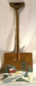 "DEER BY CREEK CHRISTMAS SHOVEL DECORATION  MEASURES 7 1/8"" X 3/4"" X 20 1/4""  WOOD & METAL"