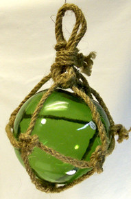 """SMALL GREEN GLASS FLOAT MEASURES 5"""" X 5"""" X 10"""" WITH ROPE"""
