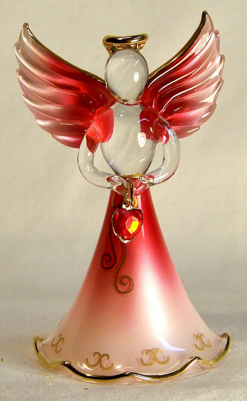 January Angel Garnet Red 4 x 4 Glass Christmas Hanging Figurine Ornament