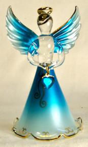 "BIRTHSTONE ANGELS MARCH (AQUAMARINE) GLASS ANGEL HOLDING LIGHT BLUE GLASS HEART 22K GOLD TRIM  MEASURES 2 3/16"" x 2 1/16"" x 3 3/4"""