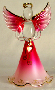 "BIRTHSTONE ANGELS JULY (RUBY) GLASS ANGEL HOLDING RED GLASS HEART 22K GOLD TRIM MEASURES 2 3/16"" x 2 1/16"" x 3 3/4"""