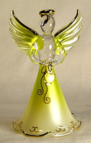 "BIRTHSTONE ANGELS AUGUST (PERIDOT) GLASS ANGEL HOLDING LIGHT LIME GLASS HEART 22K GOLD TRIM  MEASURES 2 3/16"" x 2 1/16"" x 3 3/4"""