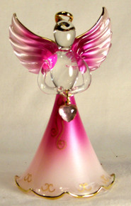 "BIRTHSTONE ANGELS OCTOBER (TOURMALINE) GLASS ANGEL HOLDING PINK GLASS HEART 22K GOLD TRIM  MEASURES 2 3/16"" x 2 1/16"" x 3 3/4"""