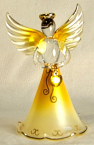 "BIRTHSTONE ANGELS NOVEMBER (TOPAZ) GLASS ANGEL HOLDING DARK YELLOW GLASS HEART 22K GOLD TRIM MEASURES 2 3/16"" x 2 1/16"" x 3 3/4"""