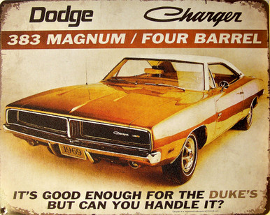 """DODGE CHARGER """"DUKES"""" VINTAGE TIN SIGN MEASURES 15"""" X 12""""  WITH HOLES IN EACH CORNER FOR EASY MOUNTING"""