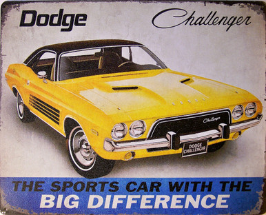 "DODGE CHALLENGER VINTAGE ADD TIN SIGN MEASURES 15"" X 12""  WITH HOLES IN EACH CORNER FOR EASY MOUNTING"