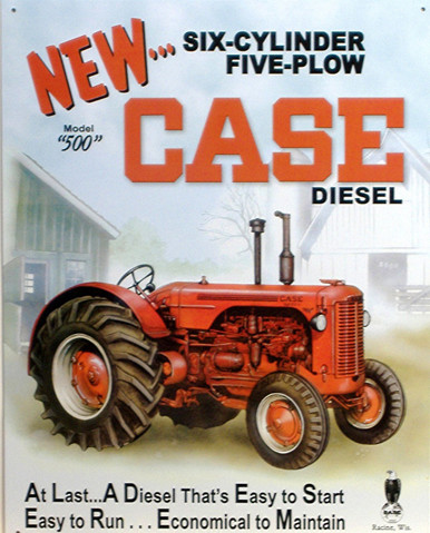 CASE DIESEL TRACTOR SIGN, SIX CYLINDER, FIVE PLOW, COLORS FROM A FEW DECADES BACK AND GREAT GRAPICS