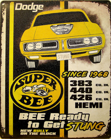 """DODGE SUPER BEE VINTAGE TIN SIGN MEASURES 15"""" X 12"""" WITH HOLES IN EACH CORNER FOR EASY MOUNTING"""