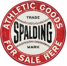 "ROUND CUSTOM SPALDING BASEBALL EQUIPMENT SIGN, ENAMEL FINISH ON STEEL MEASURES 14"" DIAMETER WITH A HOLE AT THE TOP & BOTTOM FOR EASY MOUNTING."