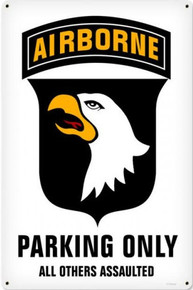 101ST AIRBORNE PARKING vintage heavy metal (sublimation Process) sign S/O*