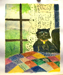 Photo of CAT ON BED OIL PAINTING