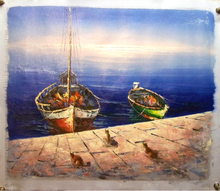Photo of CATS ON WARF BY BOATS MEDIUM LARGE SIZED OIL PAINTING