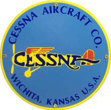 Photo of CESSNA (Round) PORCELAIN SIGN, GREAT COLORS AND DETAILS