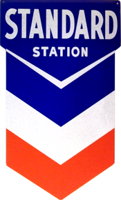 Photo of CHEVRON STANDARD DIE CUT GAS SIGN, GREAT LOOK, GREAT COLORS