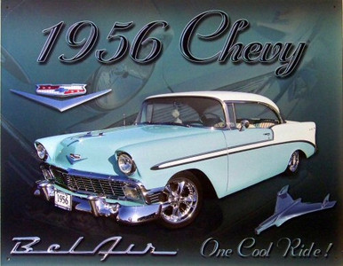 Photo of CHEVY 1956 BEL AIR SIGN, RICH COLOR AND GRAPHICS
