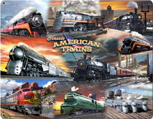 AMERICAN TRAINS COLLAGE VINTAGE  heavy metal (Sublimation Process) Sign