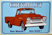 Photo of CHEVY OLD PICKUP NEW MUSCLE NEW STYLE SIGN OLD TIME GRAPHICS